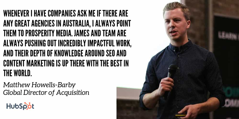 Quote from Matthew Barby of Hubspot
